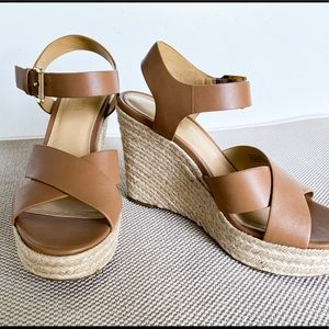 MK leather wedge sandal